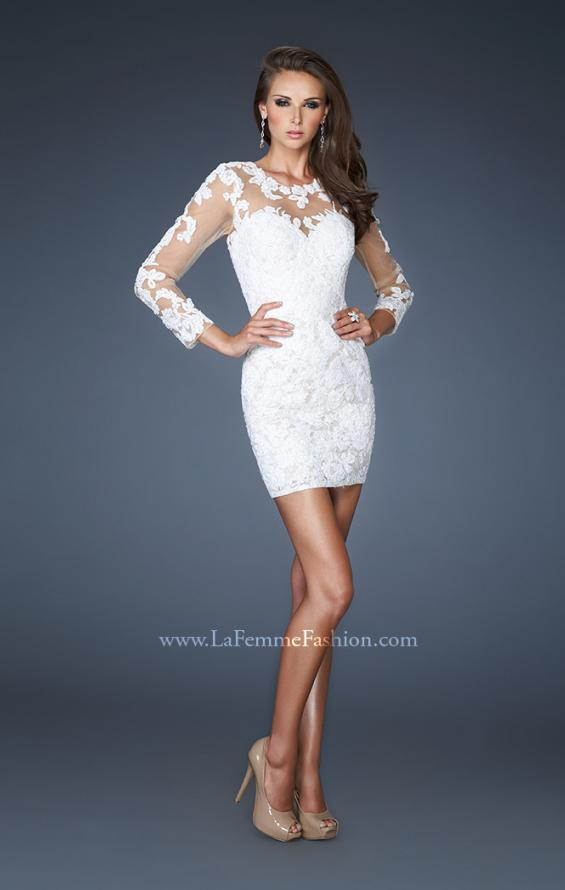Picture of: Short Fitted Lace Dress with Illusion Neckline and Sleeves in White, Style: 18979, Main Picture