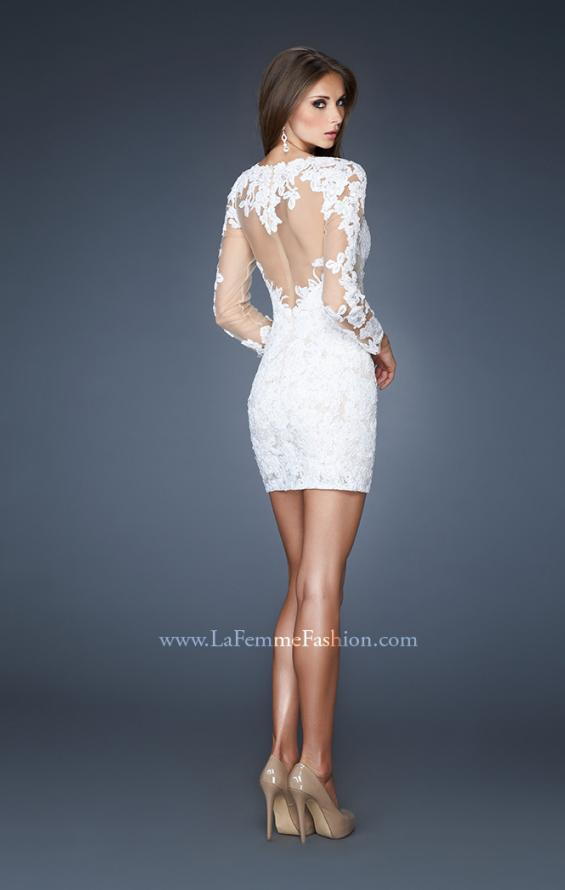 Picture of: Short Fitted Lace Dress with Illusion Neckline and Sleeves in White, Style: 18979, Back Picture