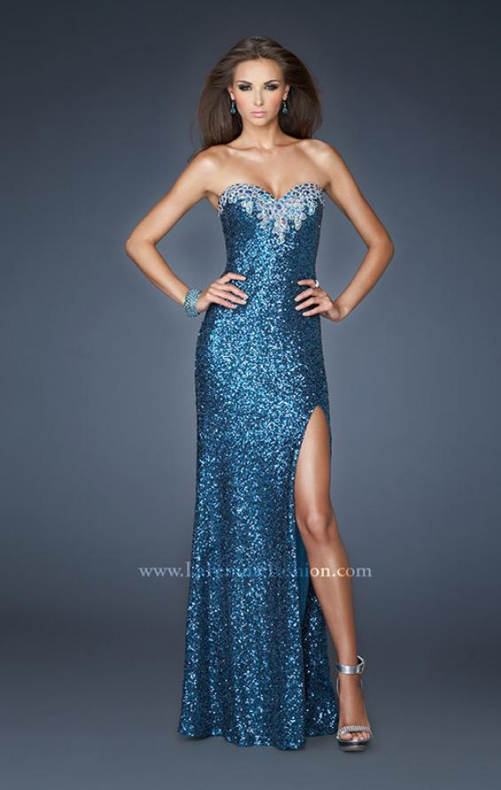 Picture of: Long Fitted Strapless Sequin Prom Dress in Blue, Style: 18982, Main Picture
