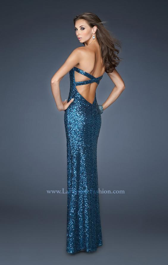 Picture of: Long Fitted Strapless Sequin Prom Dress in Blue, Style: 18982, Back Picture