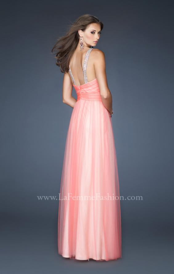 Picture of: Long A-line Chiffon Prom Dress with Beaded Halter, Style: 18983, Back Picture