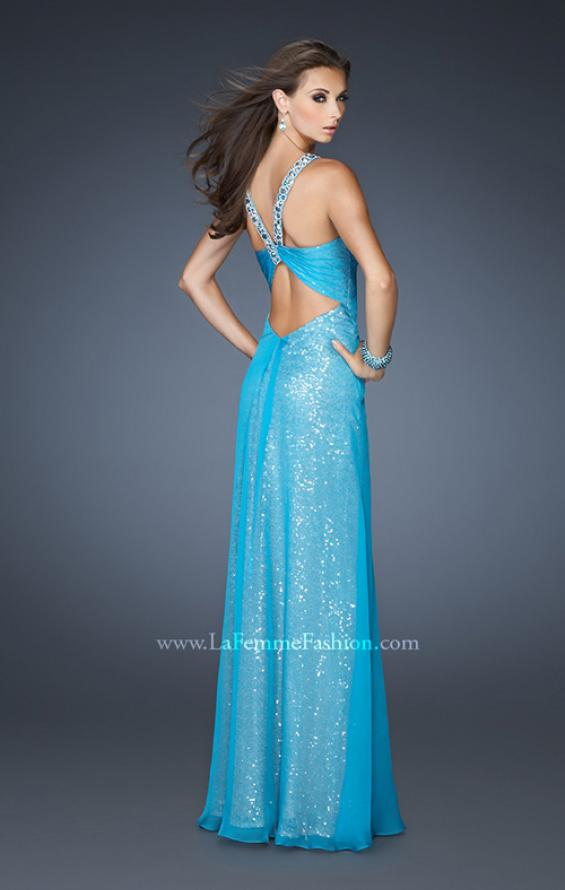 Picture of: Long Halter Sequin Prom Dress with Chiffon Overlay in Blue, Style: 18985, Back Picture