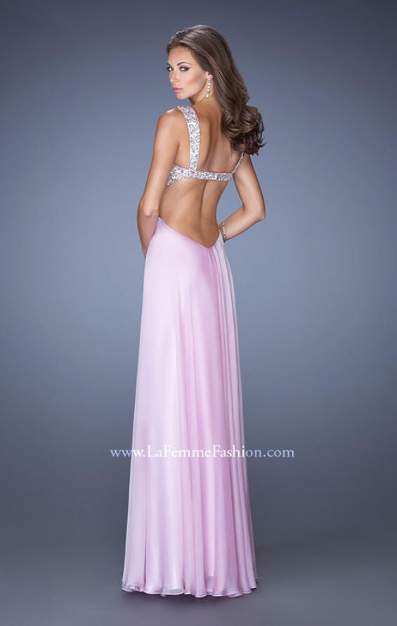 Picture of: Long Chiffon Prom Dress with Sequin Bra in Pink, Style: 18989, Back Picture