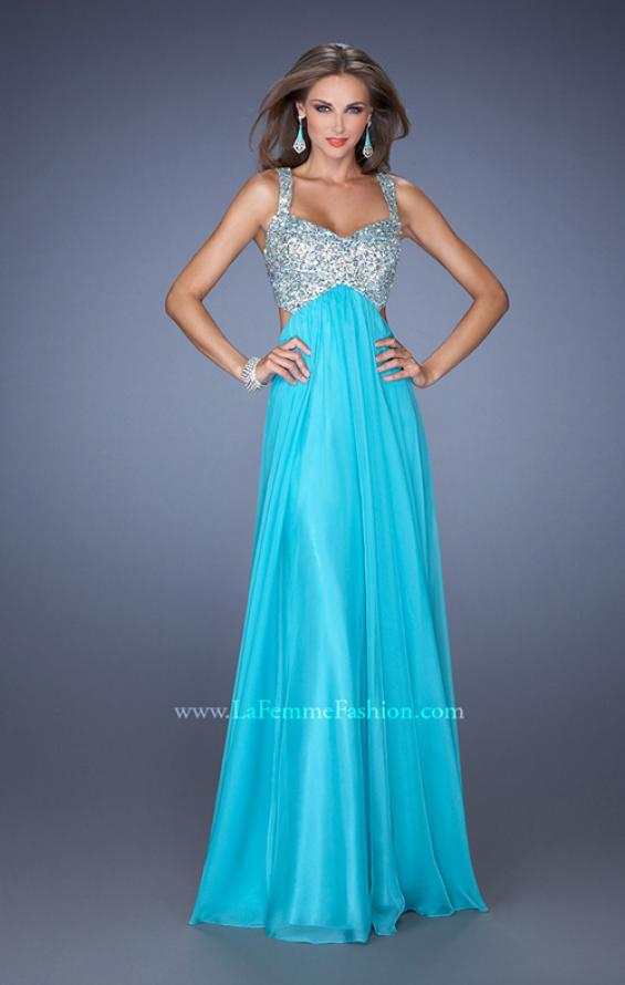 Picture of: Long Chiffon Prom Dress with Sequin Bra in Blue, Style: 18989, Detail Picture 1