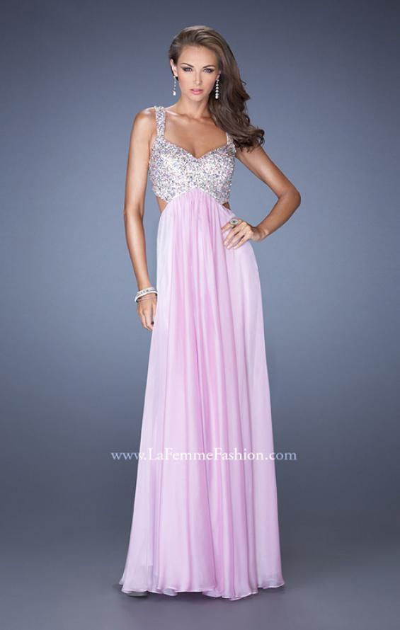 Picture of: Long Chiffon Prom Dress with Sequin Bra in Pink, Style: 18989, Detail Picture 2