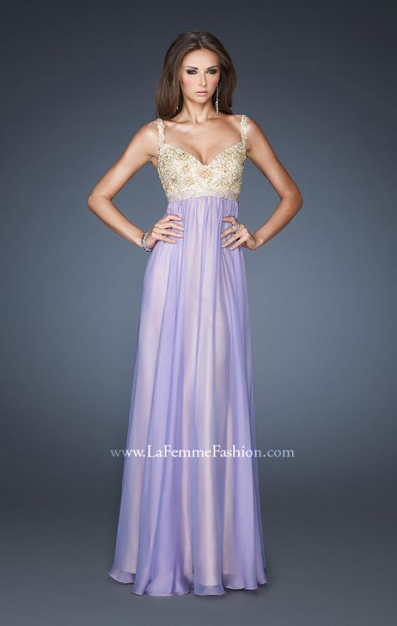 Picture of: Long Chiffon Prom Dress with Embellished Bodice in Purple, Style: 18990, Main Picture