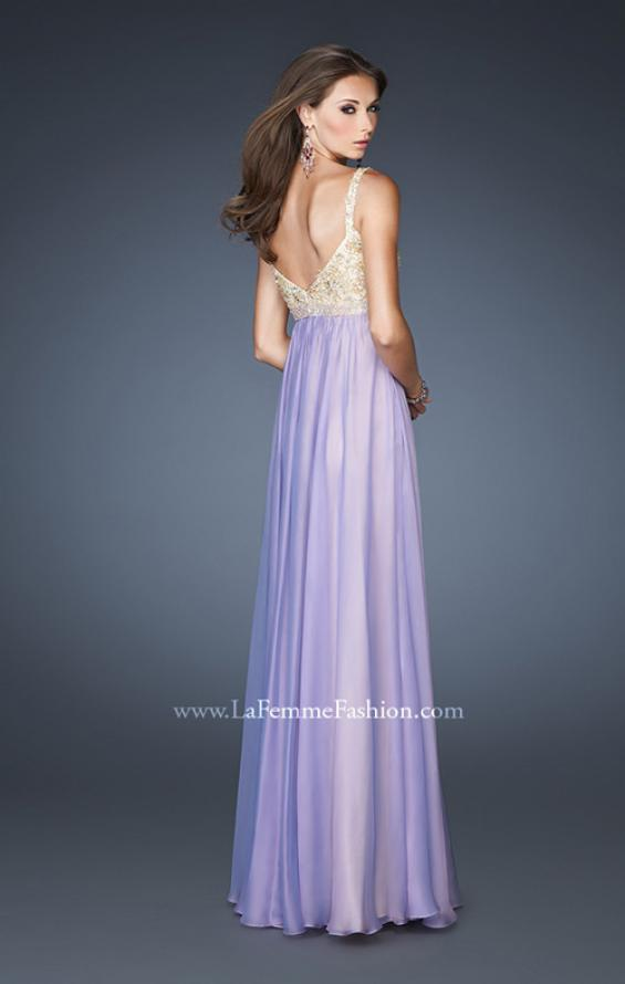 Picture of: Long Chiffon Prom Dress with Embellished Bodice in Purple, Style: 18990, Back Picture