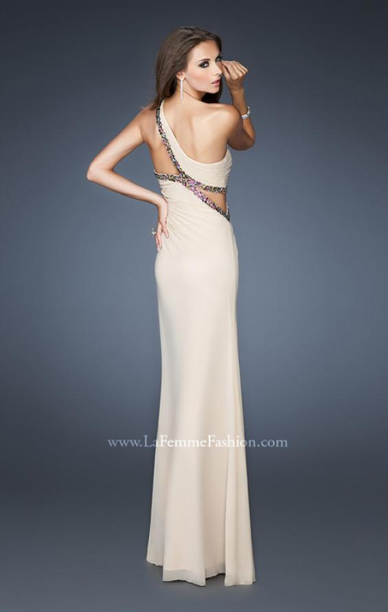 Picture of: One Shoulder Gown with Multicolored Beaded Trim in Nude, Style: 18994, Back Picture