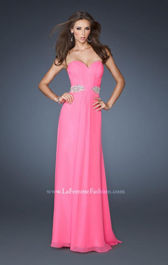 Picture of: Strapless Long Chiffon Prom Gown with Pleated Bodice in Pink, Style: 19012, Main Picture