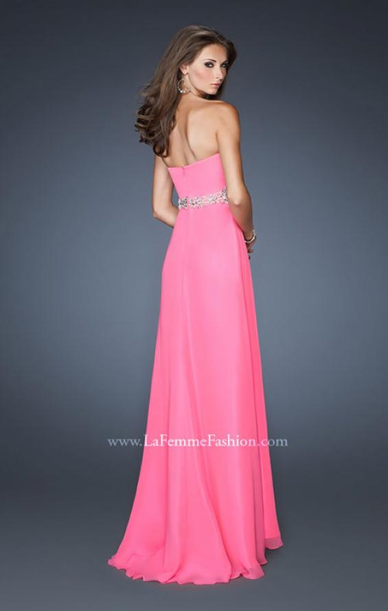 Picture of: Strapless Long Chiffon Prom Gown with Pleated Bodice in Pink, Style: 19012, Back Picture