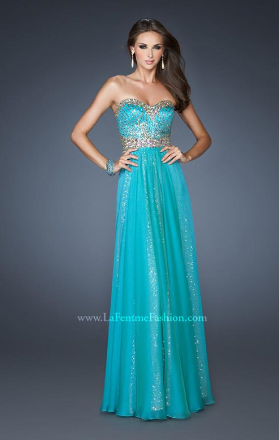 Picture of: Strapless Long Sequin Prom Dress with Chiffon Overlay Skirt in Blue, Style: 19021, Main Picture