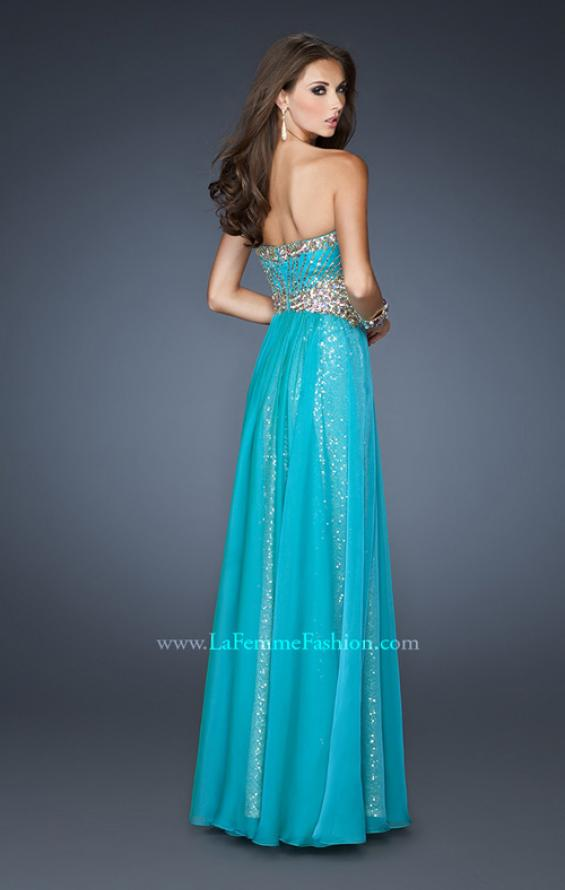 Picture of: Strapless Long Sequin Prom Dress with Chiffon Overlay Skirt in Blue, Style: 19021, Back Picture