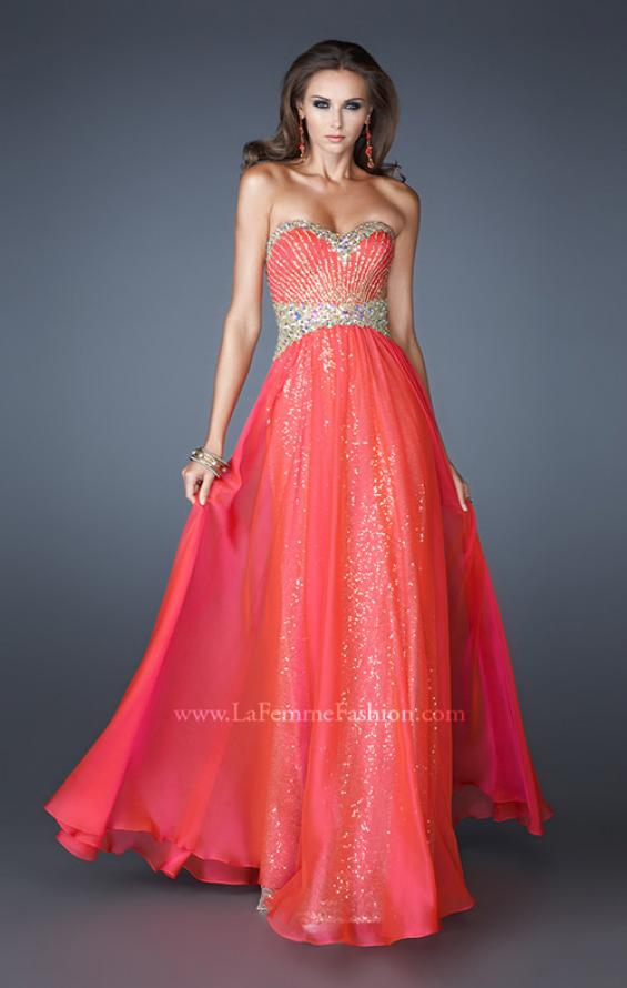 Picture of: Strapless Long Sequin Prom Dress with Chiffon Overlay Skirt in Oragne, Style: 19021, Detail Picture 1