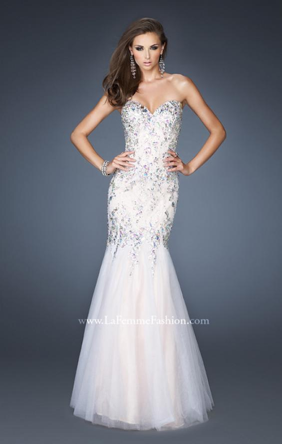 Picture of: Long Fitted Embellished Mermaid Dress with Tulle Skirt, Style: 19036, Main Picture