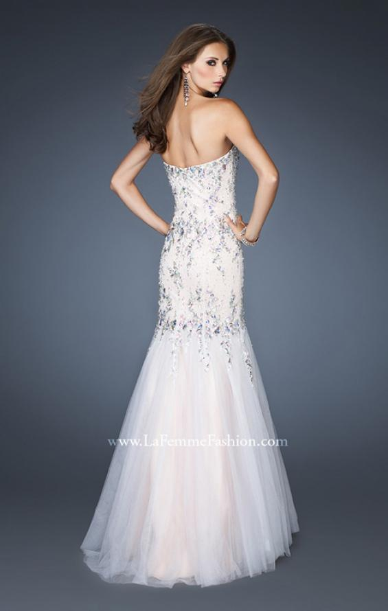 Picture of: Long Fitted Embellished Mermaid Dress with Tulle Skirt, Style: 19036, Back Picture