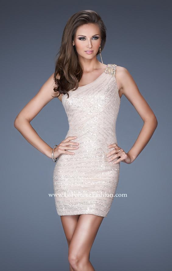Picture of: One Shoulder Fitting Short Dress with Sequin Underlay, Style: 19068, Main Picture