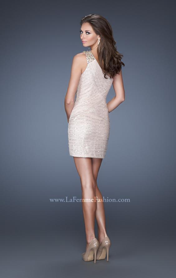 Picture of: One Shoulder Fitting Short Dress with Sequin Underlay, Style: 19068, Back Picture