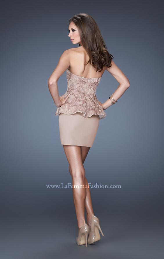 Picture of: Short Strapless Prom Dress with Textured Bodice and Peplum, Style: 19088, Back Picture