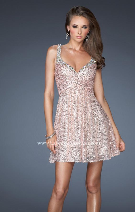 Picture of: Short Sequin Dress with Metallic Beaded Trim in Pink, Style: 19096, Main Picture