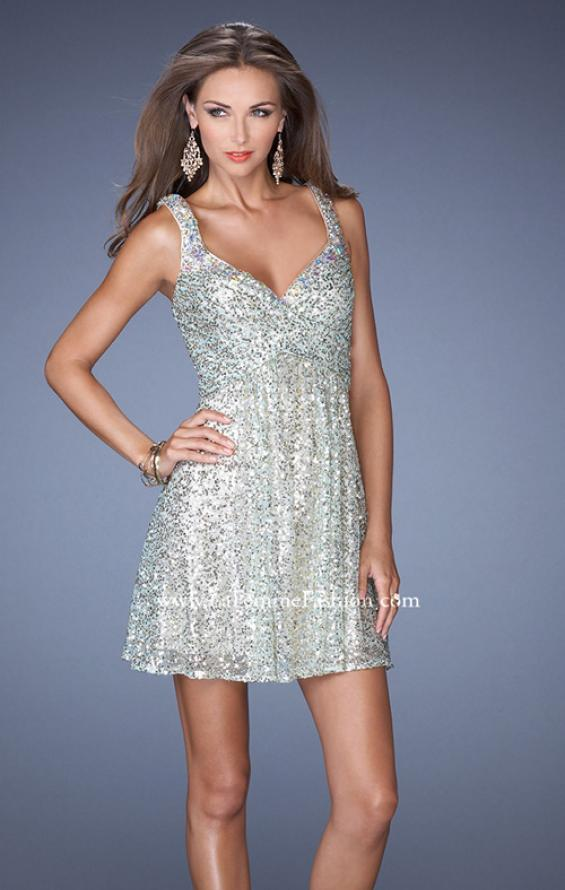 Picture of: Short Sequin Dress with Metallic Beaded Trim in Blue, Style: 19096, Detail Picture 1