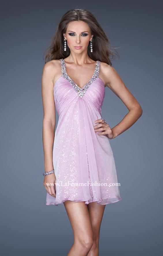 Picture of: Short Dress with Sequin Underlay and Beaded Neckline, Style: 19101, Main Picture