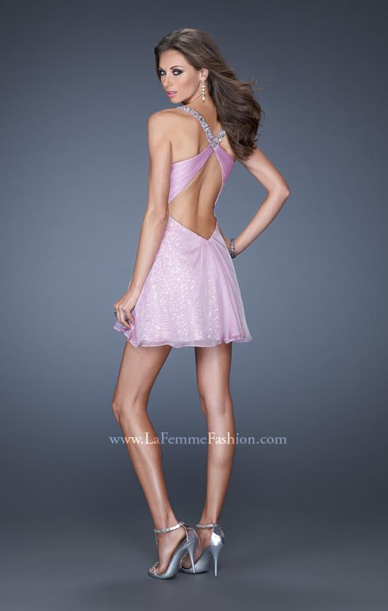 Picture of: Short Dress with Sequin Underlay and Beaded Neckline, Style: 19101, Back Picture