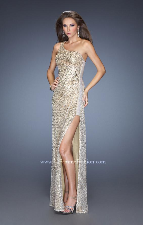 Picture of: One Shoulder Sequin Gown with Beaded Side Panel in Gold, Style: 19125, Main Picture