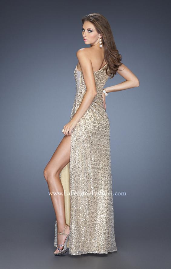 Picture of: One Shoulder Sequin Gown with Beaded Side Panel in Gold, Style: 19125, Back Picture