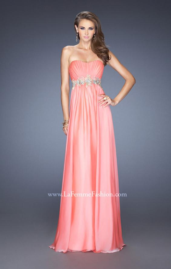 Picture of: Strapless Long A-line Prom Dress with Embellished Belt in Orange, Style: 19130, Main Picture