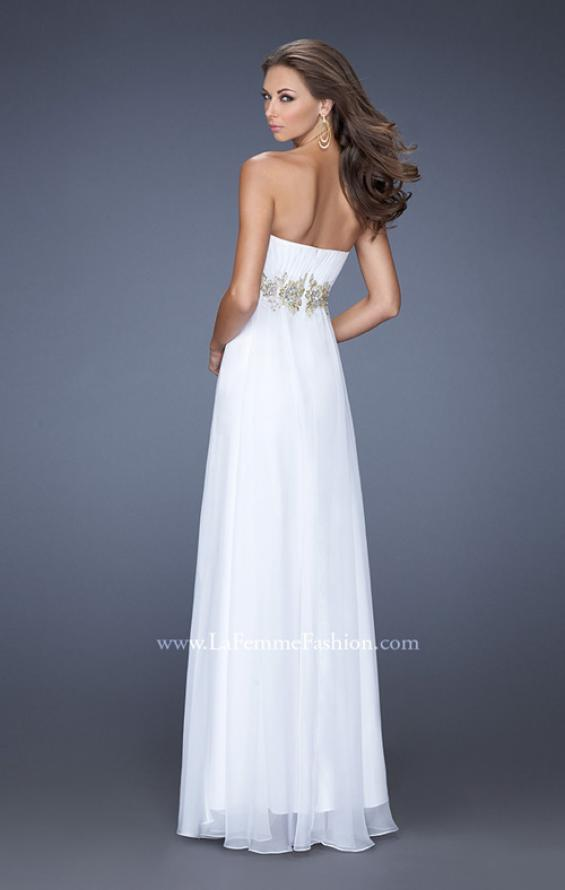 Picture of: Strapless Long A-line Prom Dress with Embellished Belt in Whtie, Style: 19130, Back Picture