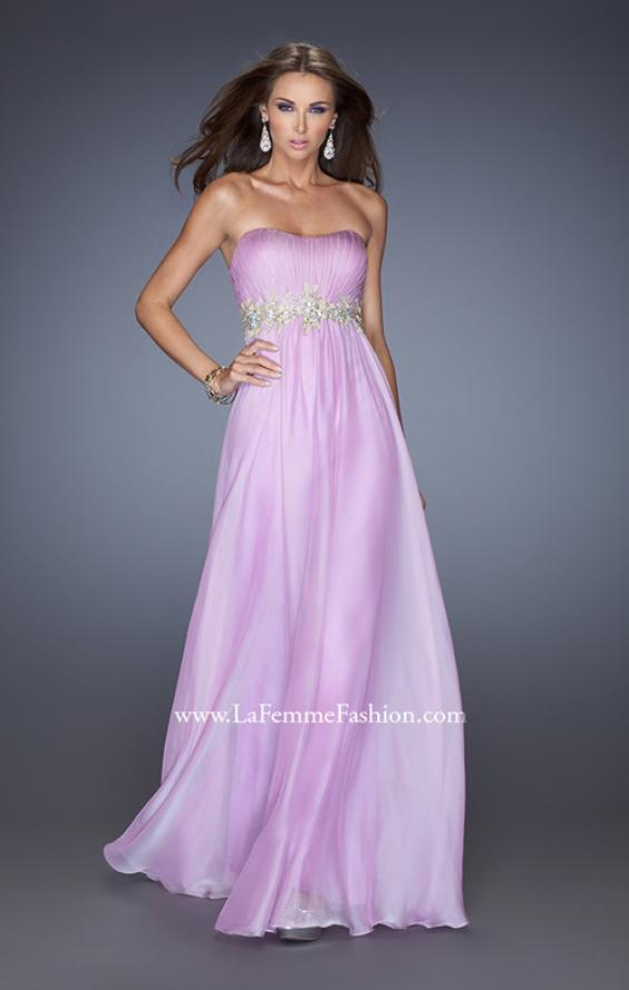 Picture of: Strapless Long A-line Prom Dress with Embellished Belt in Purple, Style: 19130, Detail Picture 1