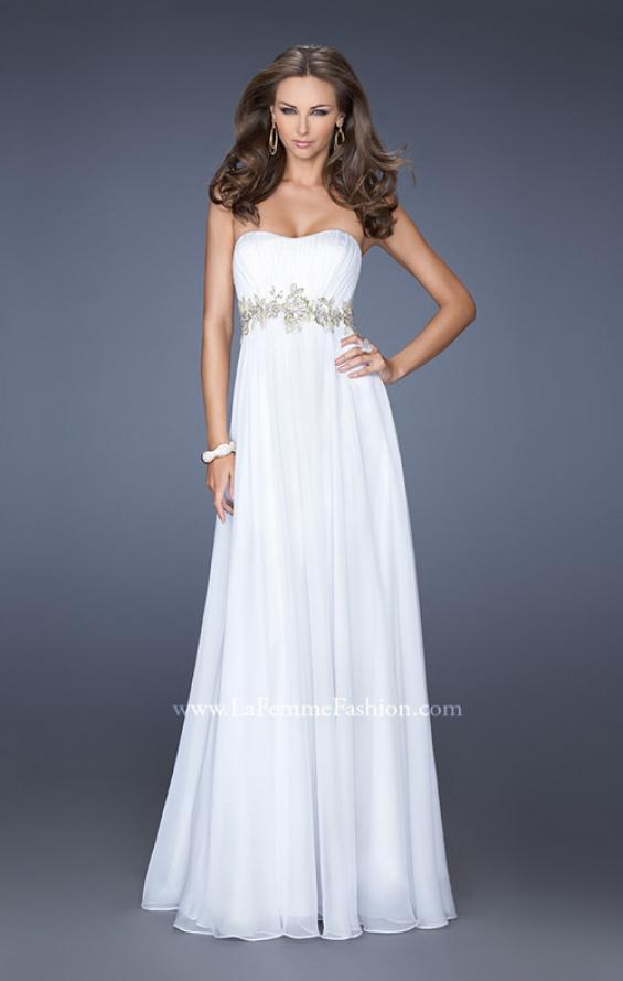 Picture of: Strapless Long A-line Prom Dress with Embellished Belt in White, Style: 19130, Detail Picture 2