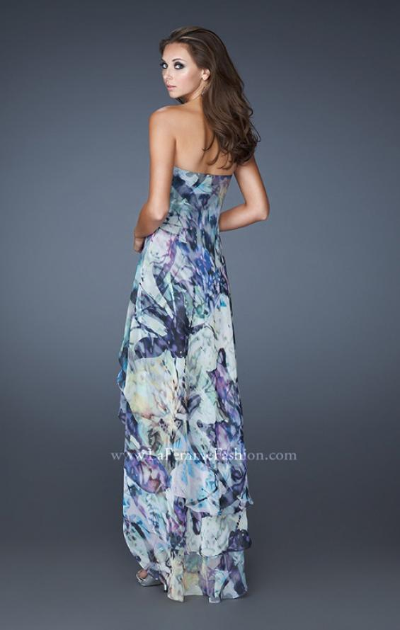Picture of: High Low Printed Prom Dress with Cascading Layers in Multi, Style: 19139, Back Picture