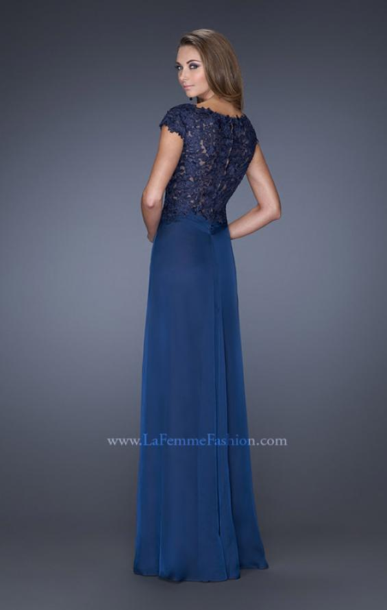 Picture of: Long Gown with Pleated Bodice and Sheer Lace Back in Blue, Style: 19143, Back Picture