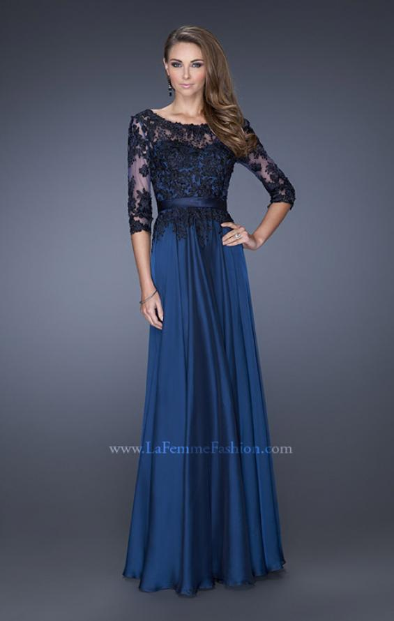 Picture of: Long A-line Dress with Lace Overlay on Bodice and Sleeves, Style: 19144, Main Picture