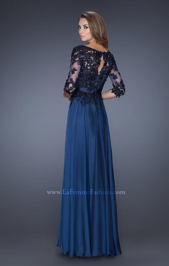 Picture of: Long A-line Dress with Lace Overlay on Bodice and Sleeves, Style: 19144, Back Picture