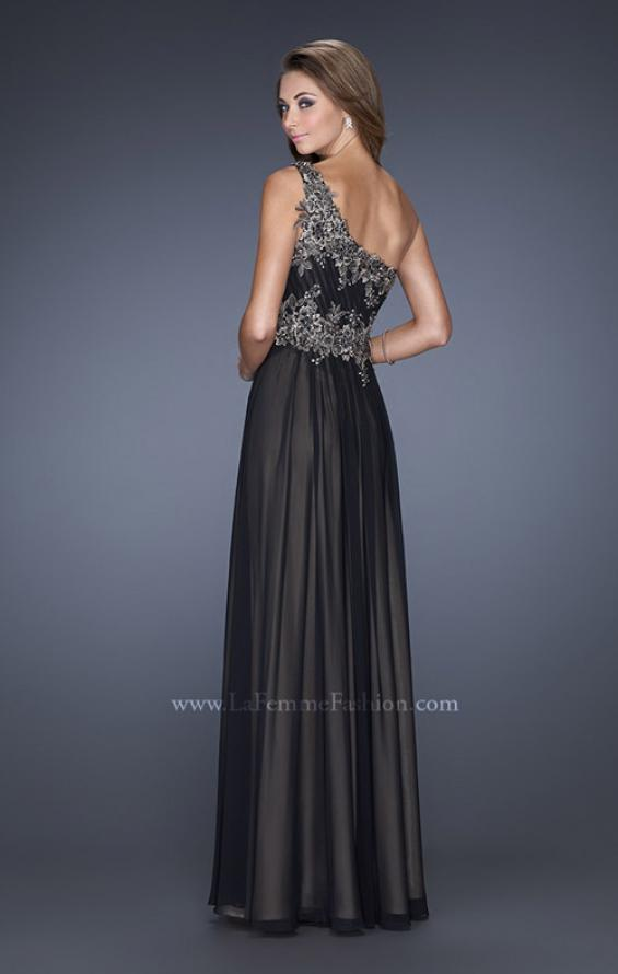 Picture of: One Shoulder Chiffon Gown with Lace Beading on Bodice, Style: 19148, Back Picture