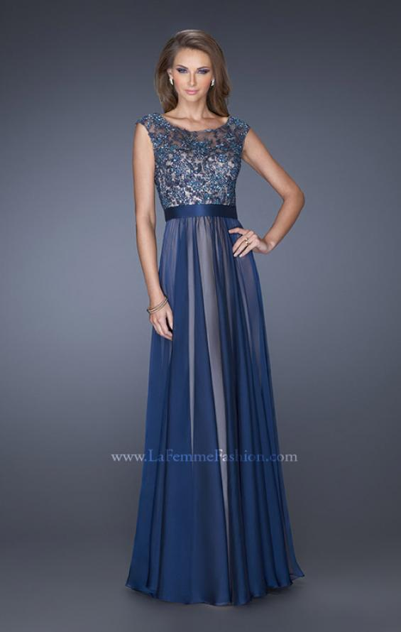 Picture of: Long Chiffon Gown with Overlay Embellished Lace, Style: 19150, Main Picture