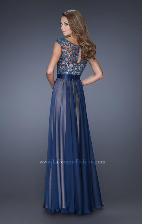 Picture of: Long Chiffon Gown with Overlay Embellished Lace, Style: 19150, Back Picture