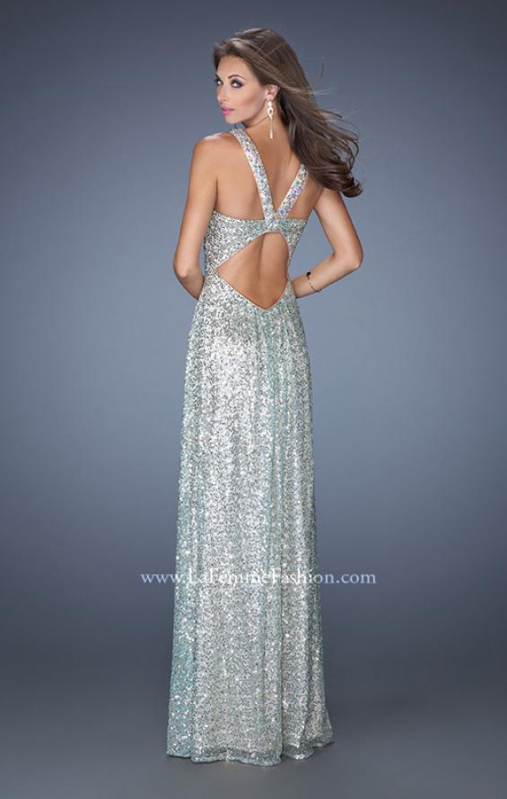Picture of: Long A-line Sequin Prom Dress with Strappy Back, Style: 19154, Back Picture