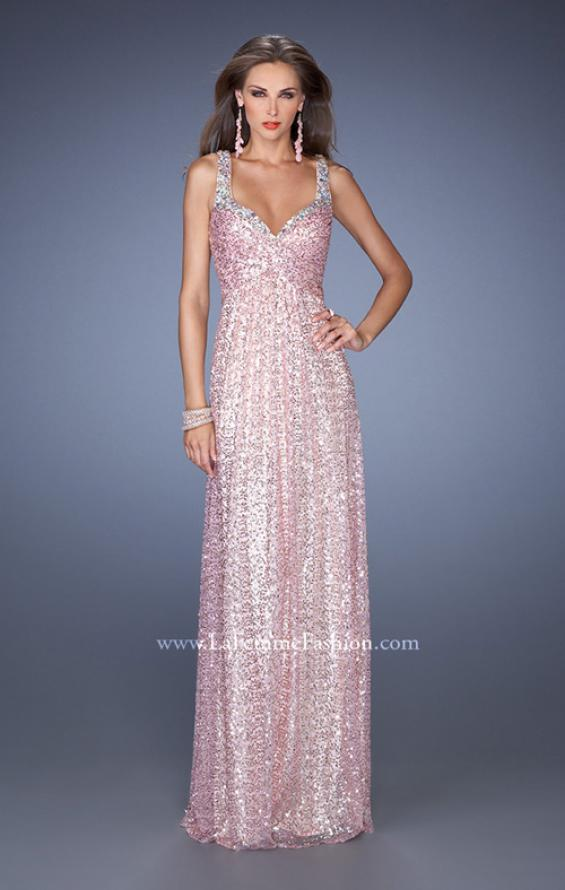 Picture of: Long A-line Sequin Prom Dress with Strappy Back, Style: 19154, Detail Picture 1
