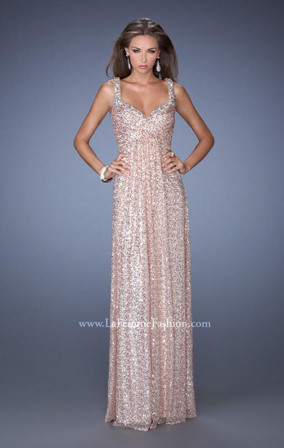 Picture of: Long A-line Sequin Prom Dress with Strappy Back, Style: 19154, Detail Picture 2