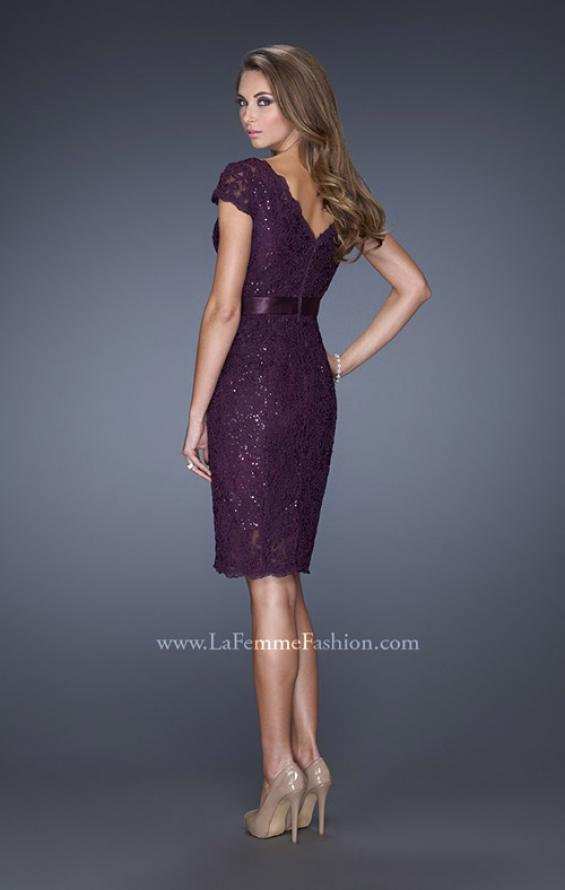 Picture of: Short Lace Dress with Satin Belt and Sequin Underlay in Purple, Style: 19167, Back Picture