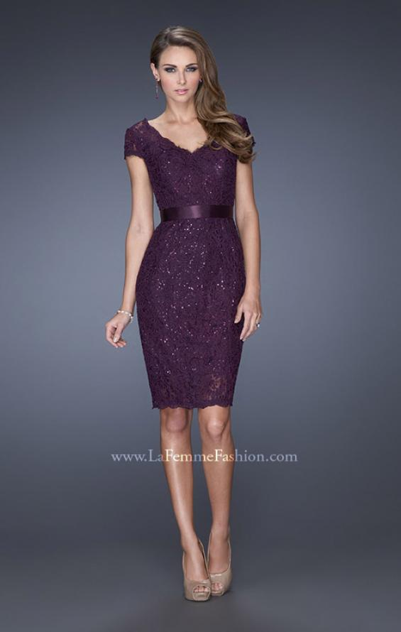 Picture of: Short Lace Dress with Satin Belt and Sequin Underlay in Purple, Style: 19167, Detail Picture 1