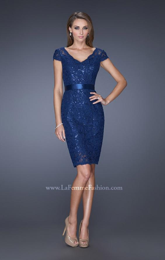 Picture of: Short Lace Dress with Satin Belt and Sequin Underlay in Blue, Style: 19167, Detail Picture 2
