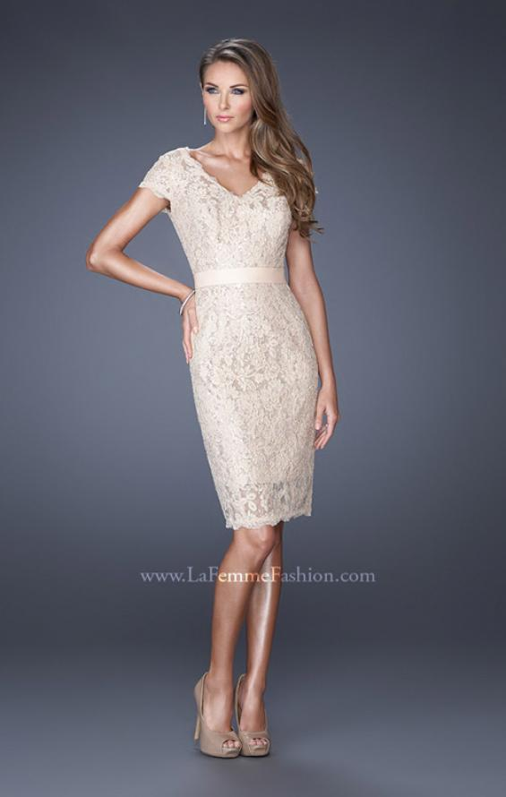 Picture of: Short Lace Dress with Satin Belt and Sequin Underlay in White, Style: 19167, Detail Picture 3