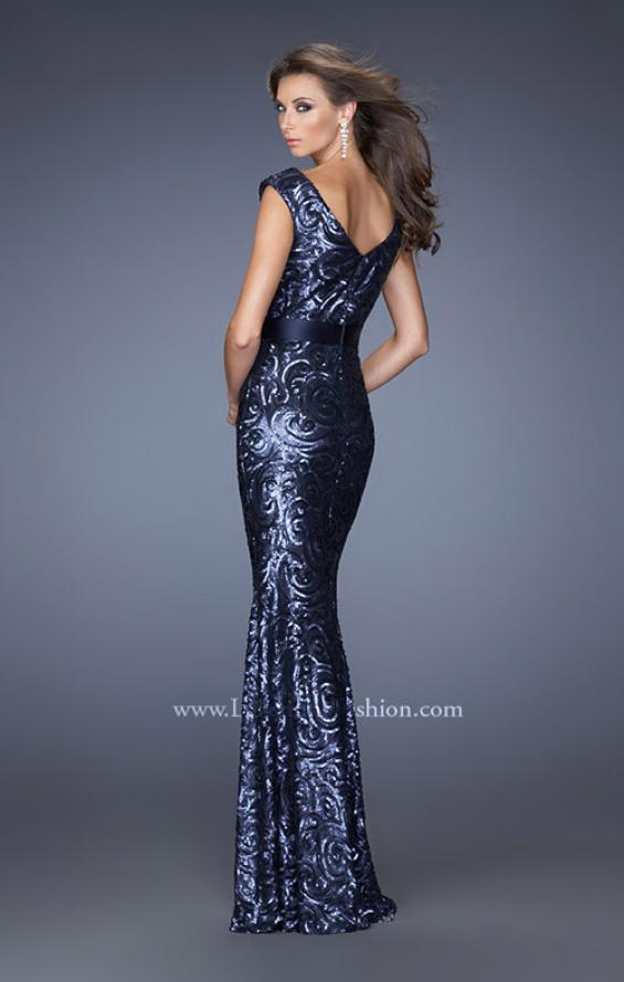 Picture of: Fitted Sequin Prom Dress with Satin Belt , Style: 19177, Back Picture
