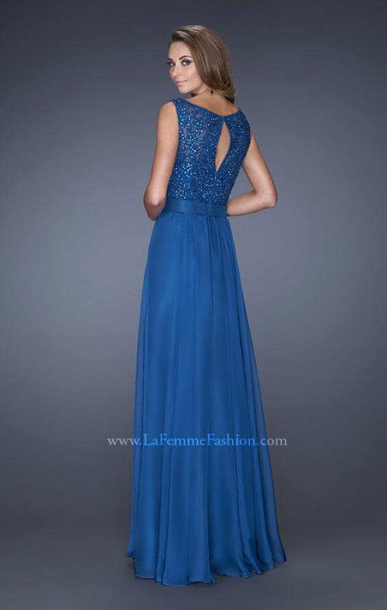 Picture of: Long Chiffon Prom Dress with an Embellished Lace Bodice, Style: 19179, Back Picture