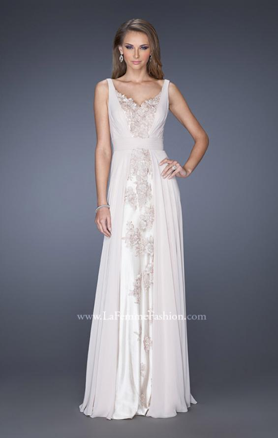 Picture of: Long Chiffon Prom Gown with Lace Panel Detail in White, Style: 19181, Main Picture