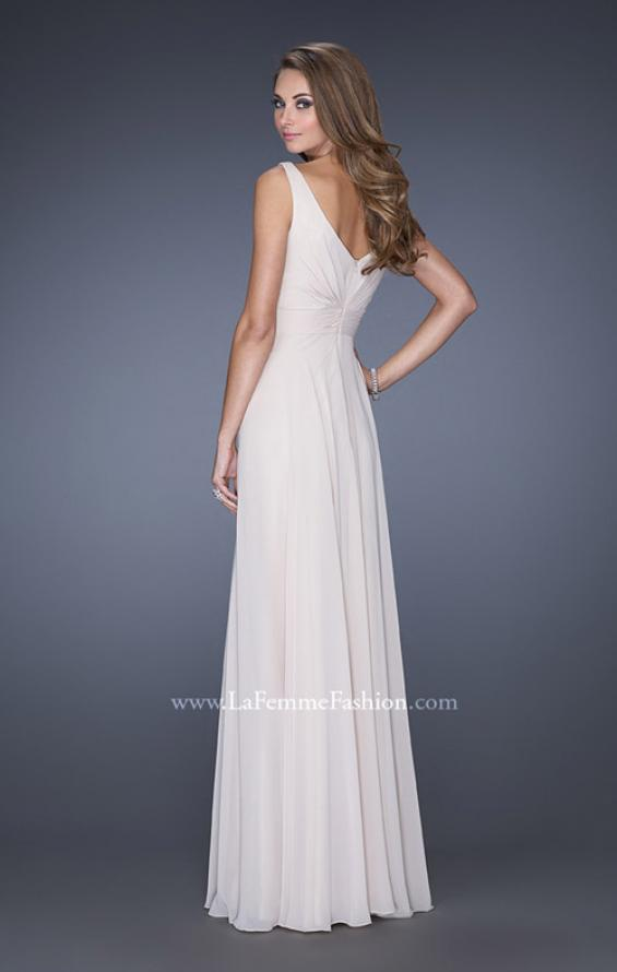 Picture of: Long Chiffon Prom Gown with Lace Panel Detail in White, Style: 19181, Back Picture